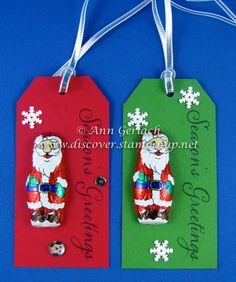 Chocolate Santa Christmas tags or ornaments | Discover Ink – Ann Gerlach Independent Stampin' Up!® Demonstrator