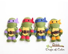 TMNT Teenage Mutant Ninja Turtles Plush Toys  por dropsofcolorshop, $50.00