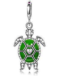 Ninaqueen 925 Sterling Silver Green Enamel Ocean Turtle Dangle Charms Fit Pandora Bracelet   ASIN: B00X146HNG Item model number: CSG05343BW