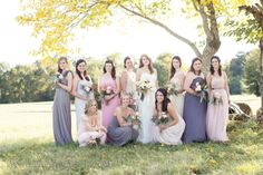 Natural Vintage Wedding | Beautiful Fall Wedding » Eternal Reflections | Neutral bridesmaids dresses