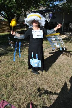 The Water Cycle- cloud hat for condensation, precipitation coming down both arms, etc.