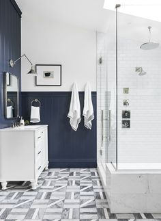 Emily Henderson master bathroom ideas Last week, we revealed the dreamy master bedroom of the Portland House, and today, we're on to the equally dreamy master bathroom. Bathroom Wall Decor, Bathroom Colors, Bathroom Furniture, Bathroom Interior, Bathroom Ideas, Wooden Furniture, Budget Bathroom, Bath Ideas, Bathroom Subway Tiles