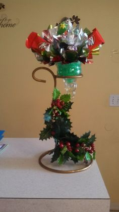 Pretty Christmas candy bouquet.