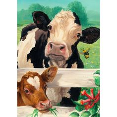 Farm garden Illustration - Toland Home Garden Farm Buddies Garden flag Farm Paintings, Animal Paintings, Garden Illustration, Beautiful Farm, Cow Painting, Farm Art, Cow Art, House Flags, Flag Decor