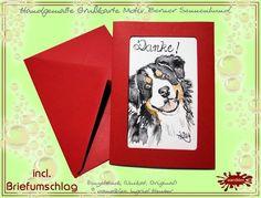 Hunde - Einzelstück Grußkarte handgemalt Berner Sennenhund mit Dankeschön - ein Designerstück von wandklex bei DaWandaPostkarte mal anders;  handgemalte Karten - geht übrigens auch nach Ihrem Foto :-) Alles zu haben im kleinen Klexshop auf DaWanda unter http://de.dawanda.com/shop/wandklex (einzeln handgemalte Karten, auch mit Valentinstagsgruß, Spruch, Blümchen, Herzen, Weihnachtsmützen ;-) )  Jede Karte ein Unikat, alle Tierrassen und auch Personen möglich, auch Kleinserien.