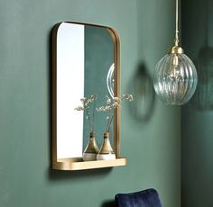 I've just found Brass Framed Rectangle Wall Mirror With Shelve. This is a gorgeous brass framed mirror with a small storage shelf. Bathroom Mirror With Shelf, Bathroom Mirrors Diy, Hallway Mirror, Brass Mirror, Gold Bathroom, Bedroom Mirrors, Spiegel Gold, Custom Mirrors, Tadelakt