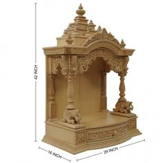 Teak Wood Puja Mandapam for Home - - Teak Wood Temple, Temples Wooden Temple For Home, Temple Design For Home, Front Door Design Wood, Mandir Design, Pooja Mandir, Pooja Room Door Design, Vertical Garden Design, Living Room Sofa Design, Wood Carving Designs