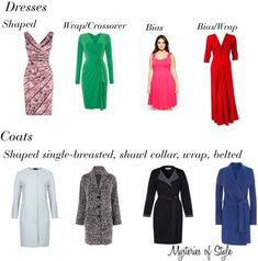 Dresses and coats for full hourglass body shape