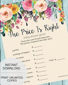 The Price Is Right Baby Shower Game - Garden Flowers - Print It Baby