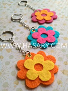 flower felt keychain Orange  Yellow - laser cut felt,custom