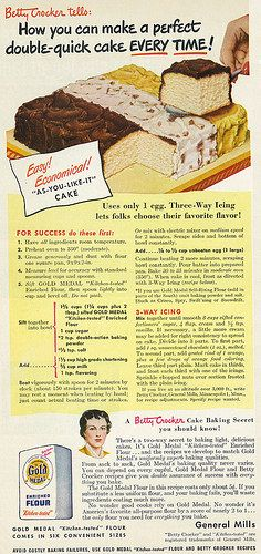"Gold Medal Flour - Betty Crocker ""As-You-Like-It"" Cake Recipe (1949). #vintage…"