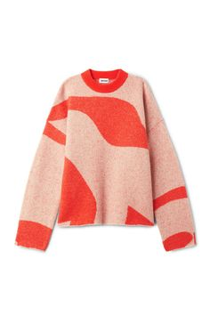 Model front image of Weekday manama printed sweater in orange Wool Sweaters, Cashmere Sweaters, Textiles, Outfit Look, Piece Of Clothing, Knitwear, Winter Fashion, My Style, Outfits