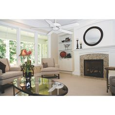 Quiet Ceiling Fans, Hunter Ceiling Fans, Brick Siding, Brick Paneling, Built In Electric Fireplace, Steel Railing, Fireplace Inserts, Home Comforts, Wall Outlets