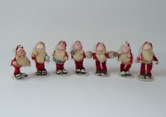 7 Vintage Santa Figures Chenille Paper Mache with Mica Made in France Band | eBay