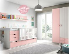 Cuna compacta convertible en cama, en color fresno, blanco y rosa. Medidas: 105x201x55 cm. COLORES: