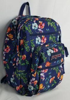 f2c8b0fe4a76 JanSport Big Student School Backpack Floral Blue Navy college laptop bag   JanSport School Backpacks