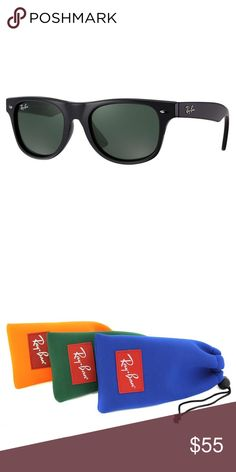 NEW! Ray-Ban Kids Wayfarer Sunglasses, Black, 44mm This kids version of the iconic Ray-Ban Wayfarer featured in black provides UV protection and a comfortable fit. The only problem is you may never get your kid to take them off. Fits toddlers 0-5 years old.  Features: * Ray-Ban logo at upper right lens * 100% UV protection * Prescription-ready * Includes neoprene protective pouch * Made in Italy  Specs: * Model: RB9035S 100/71 * Size: 44 mm * Frame: Black * Lens: Classic Green  Product…