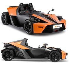 KTM X Bow.  With a carbon fiber monocoque construction, this (street legal) racer with motorbike performance weighs in at 1500lbs.  This goes at the top of exotic car styling.  Love the color separation that minimizes the bodywork and adds to this thing's stripped down street rod feel.