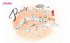 Paris map for Fabulous magazine by Melissa Bailey www.melissabaileyillustration.co.uk