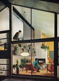 A 1955 magazine image showing the low-slung furniture typical of Mid-Century Modern Design. Learn more about the origins of Mid-Century design in this blog series | I like that lamp