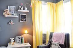 quarto infantil cinza, rosa e amarelo
