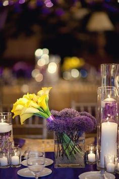 Table setting - candles and flowers