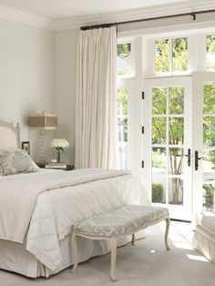 Love this white room with an accent of gray! So nice, clean, and classic!