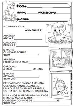 Atividades relacionadas à poesia de Cecília Meireles - As meninas     Texto lacunado         Atividade para vestir as roupas nas meninas   ...