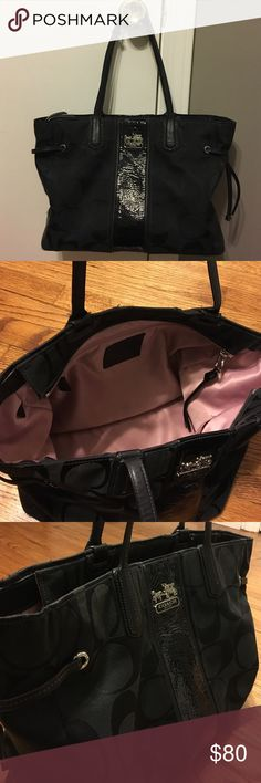 Coach Tote Pretty black tote from coach! Pink inside. I took great care of the bag. It's in Good condition! Coach Bags Totes