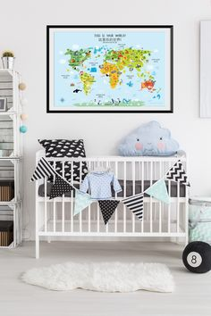 World Map Nursery Decor in English and Chinese. Is your family bilingual and you are trying to teach your baby Chinese language? This adorable kids world map will help your little one be an expert in Chinese.