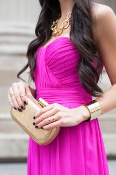 Rent the Runway, Fuchsia dress, Badgley Mischka gown