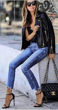 #summer #outfits Black Leather Jacket + Skinny Jeans + Black Sandals