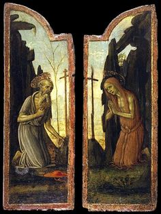 Saint Mary of Egypt and Saint Jerome by Arcangelo di Jacopo del Sellaio St Jerome, Santa Maria, St Mary Of Egypt, Catholic Saints, Triptych, 15th Century, Middle Ages, Black History, Renaissance