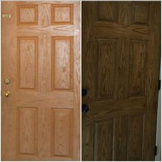 """Restyle Junkie says, """"Our customer, Heidi, recently purchased General Finishes Gel Stain in Antique Walnut. Look how she transformed her fiberglass front door! Incredible update! Heidi said that she used the """"sock"""" method and went with the grain of the door when applying the Gel Stain and Top Coat. Didn't she do an amazing job?"""""""