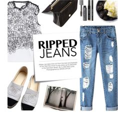 Ripped Jeans - Thursday by kelly-m-o on Polyvore featuring polyvore, fashion, style, Issa, Chicnova Fashion, Chanel, Jérôme Dreyfuss, Bobbi Brown Cosmetics, Post-It and Kershaw