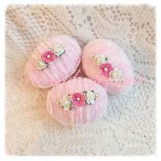 3 Pink 3 EGGS Bowl Filler Cottage Chic Chenille