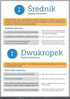 Średnik, dwukropek - PlanszeDydaktyczne.pl Writing Tips, Writing Prompts, English Handwriting, Learn Polish, Polish Language, Gernal Knowledge, School Motivation, School Notes, School Hacks