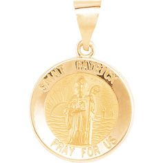 Anne Medal FB Jewels 14K Yellow Gold 18mm Round Hollow St