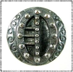 Victorian Black Glass BUCKLE Button w/ Green & Silver Luster - 7/8
