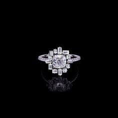 'Stella' diamond ring With cushion cut diamond With cushion cut diamond