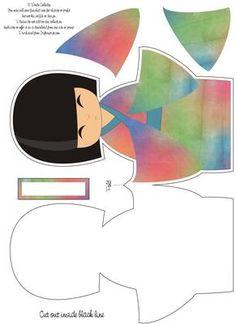 Large Rainbow Kokeshi Doll Shaped Card on Craftsuprint designed by Wendy…