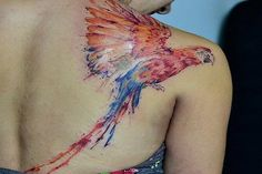 Watercolor Macaw Shoulder Tattoo; Watercolor Tattoo Designs