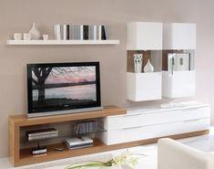 Beyaz parlak lake modern tasarımlı tv ünitesi modeli