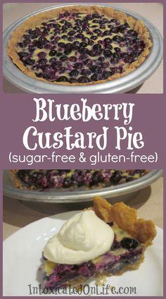 Blueberry Custard Pie (sugar free and gluten free) - Use Coconut cream to make it more candida diet friendly?