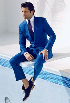 Kenneth Cole Reaction Men's Slim-Fit Bright Blue Suit | Bright ...