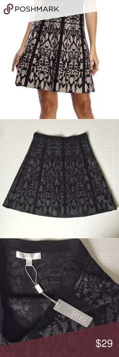 NWT Spense Jacquard Knit A-line Skirt NWT Jacquard knit a-line skirt from Spense. Size: S. Color: Black and Grey. Color is truer to second and third image. Approx length is 20 inches. 39% viscose, 32% acrylic, 29% nylon. Spense Skirts A-Line or Full