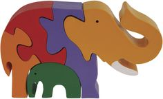 Elephant Family Wooden Puzzle - 3D Wood Jigsaw Puzzle