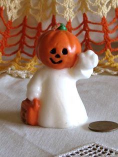 Vintage Jack O'lantern Ghost Halloween Candle by LasLovelies, $8.00