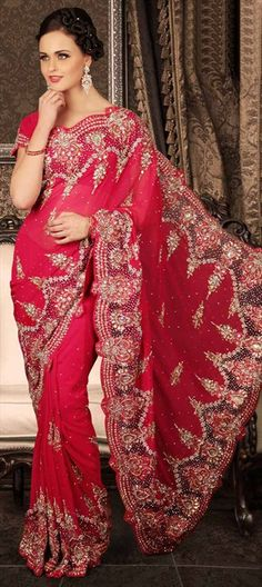 105401, Party Wear Sarees, Bridal Wedding Sarees, Georgette, Cut Dana, Kundan, Stone, Red and Maroon Color Family
