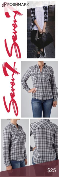 "🍉 Seven7 Brand Plaid Shirt NWT Seven 7 Relax Plaid Shirt in the Chess Blk color. High quality Super soft and cozy 100% cotton. Snap closure. Perfect to pair with denim. Size S. Length: 27.5"" Chest: 21"" Sleeve: 23.75"" New with Tags. Seven7 Tops Button Down Shirts"